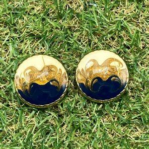 Vintage artisan navy blue enamel ivory gold disc